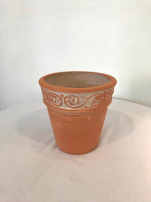 Cachepo ceramica terracota arabesco