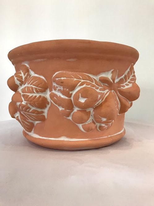 Cachepo ceramica terracota frutas em relevo