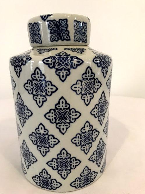 Pote porcelana azul com tampa
