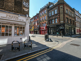 London lockdown images. First signs of awakening. Eight and, probably, last stop: Brick Lane