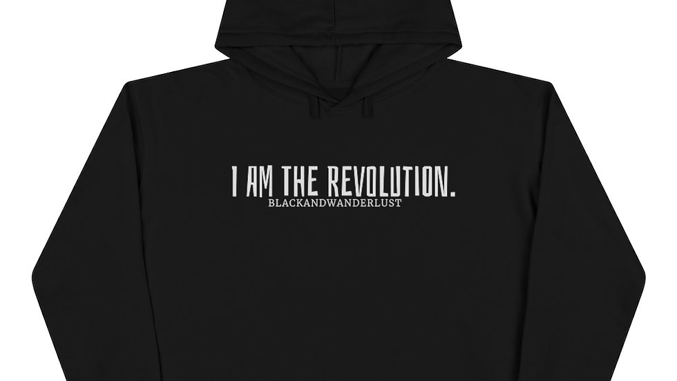 "Black Everyday BandW  ""Revolutionary Gear: I AM"" Crop Hooded Sweatshirt"