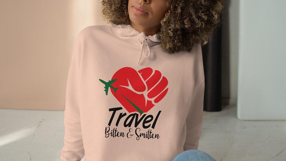 "BandW ""Travel Bitten and Smitten"" Cropped Hooded Sweatshirt"