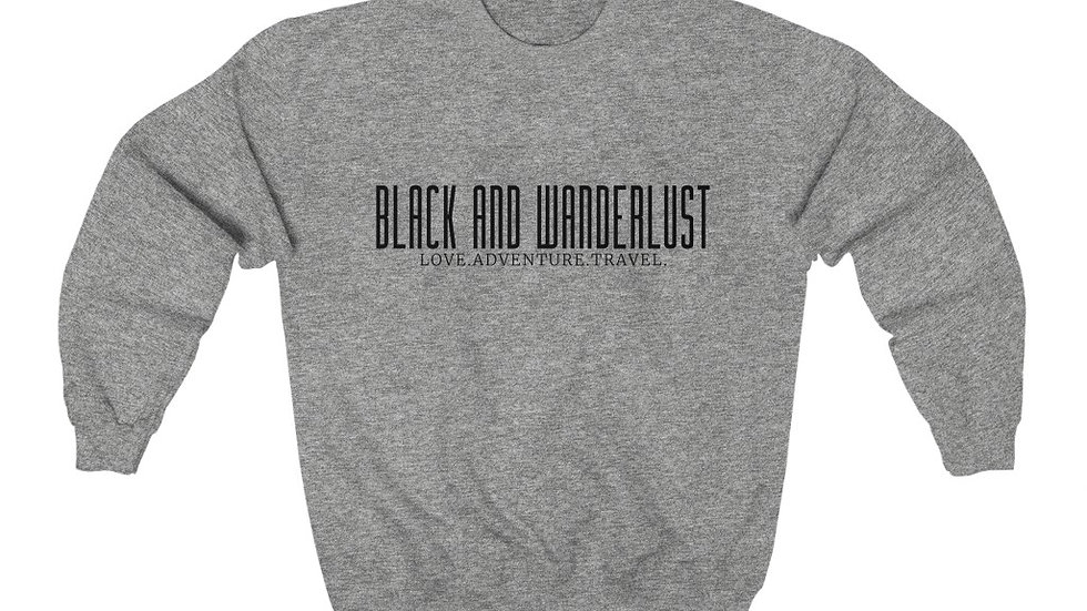 "Black and Wanderlust ""ON THE GO"" Unisex Heavy Blend Crewneck Sweatshirt"