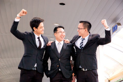3 Asian businessman team management happ