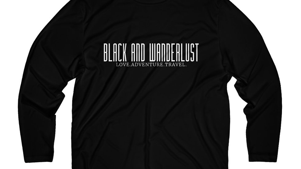 "Black and Wanderlust ""ON THE GO"" Long Sleeve Moisture Absorbing Tee"
