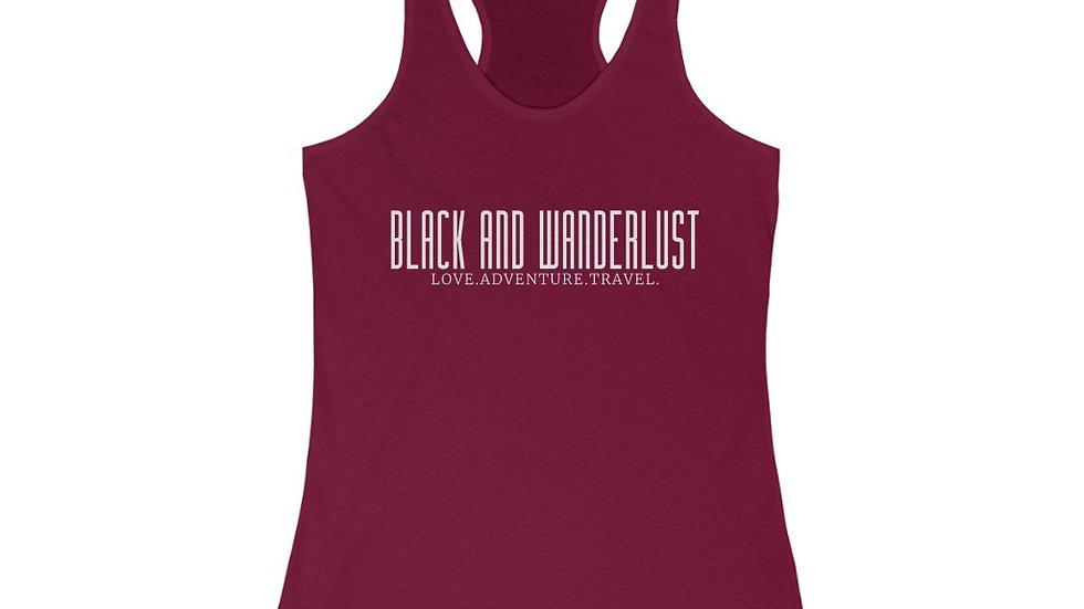 """Black And Wanderlust"" Women's Slim Fit Racerback Tank"