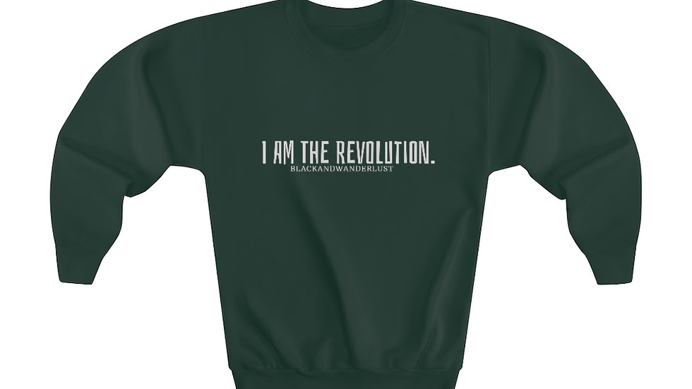 "Black and Wanderlust ""REVOLUTIONARY GEAR: I AM"" Youth Crewneck Sweatshirt"