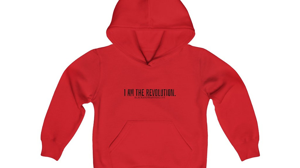"Black and Wanderlust ""Revolutionary Gear: I AM"" Youth Hooded Sweatshirt"