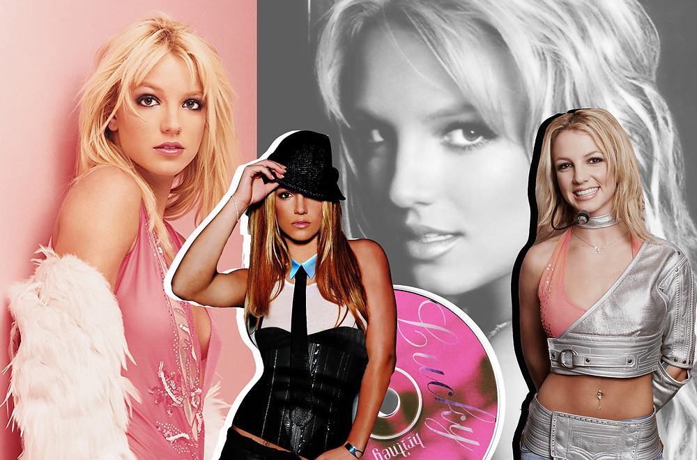 Collage of Britney Spears and the CD for 'Lucky'