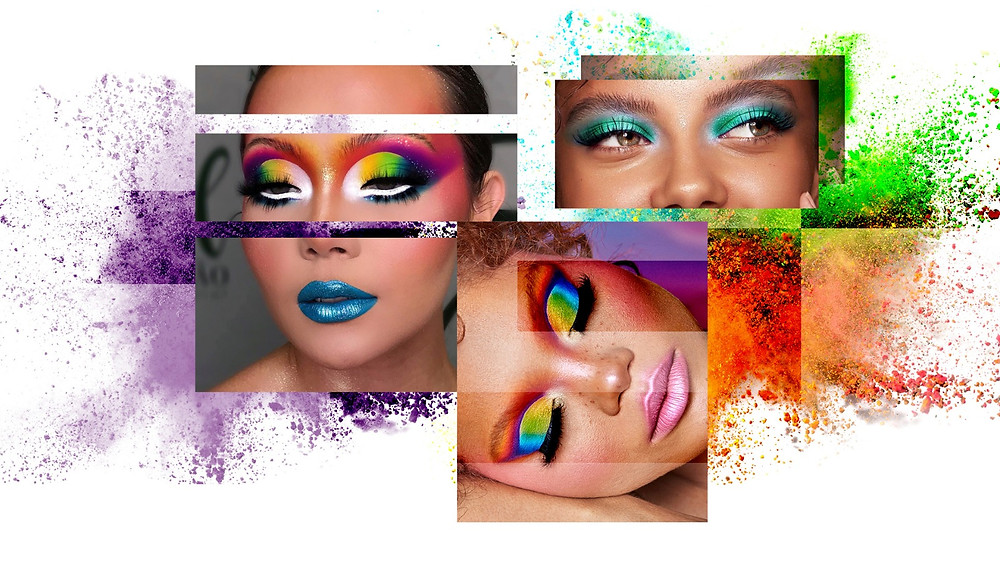 A collage of some bold eye look inspiration for this New Year's Eve
