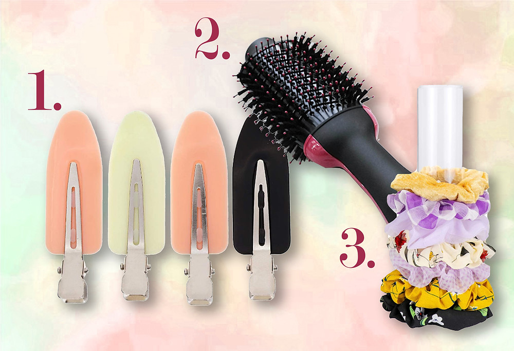No-kinks clips, Revlon blow dry brush and a Scrunchie stand found on Amazon