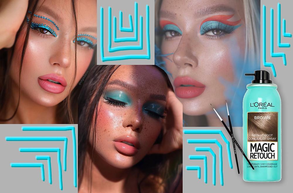Olga Dann from her instagram @olgadann, SUVA liner bushes and the L'Oréal Paris Magic Retouch Spray