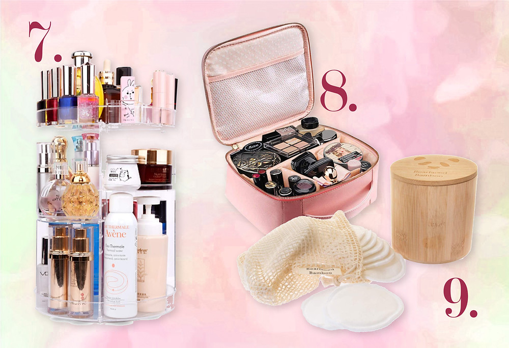 Storage Carousel, Travel make up bags and Environmentally friendly re-usable cotton pads found on Amazon