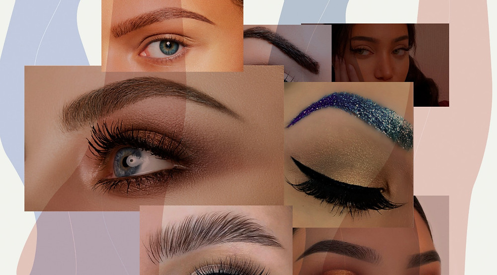 A collage of various brow trends
