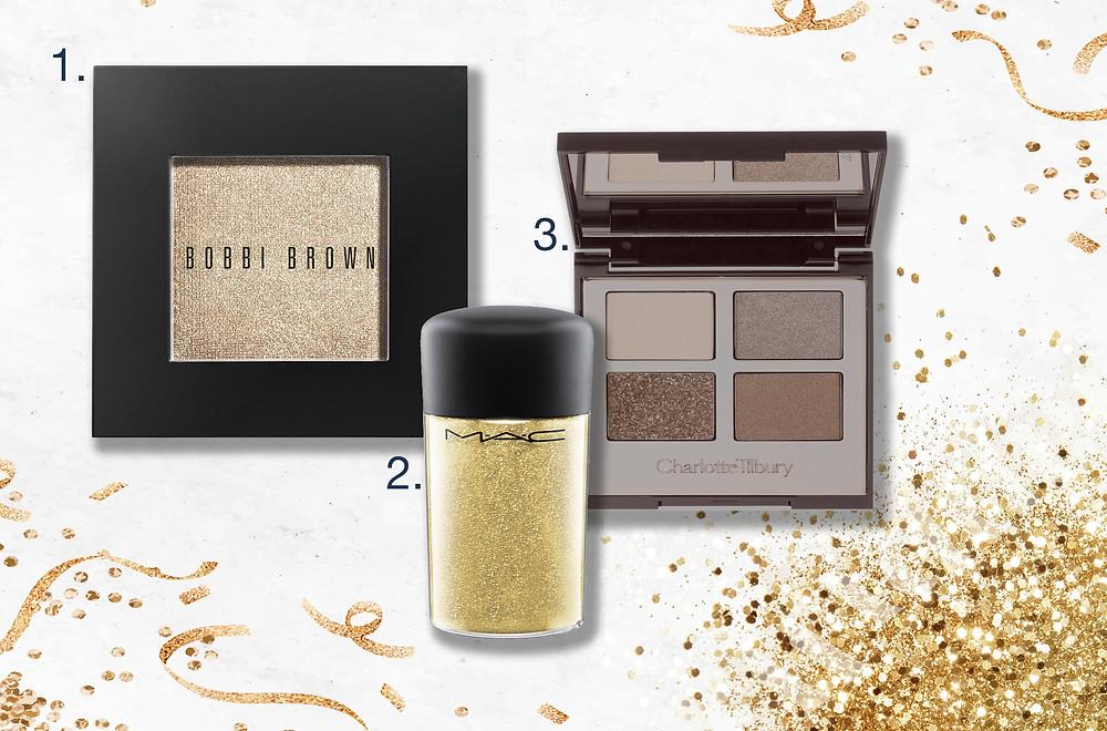 Shimmer Wash Eye Shadow by Bobbi Brown, Charlotte Tilbury Golden Goddess palette and the Mac Gold Pigment