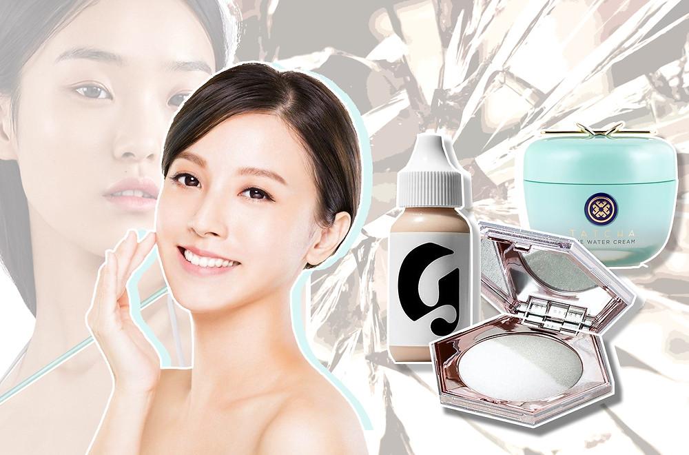 Fenty's Diamond Bomb highlighter, Glossier's Perfecting Skin Tint and Tatcha Water Cream moisturiser