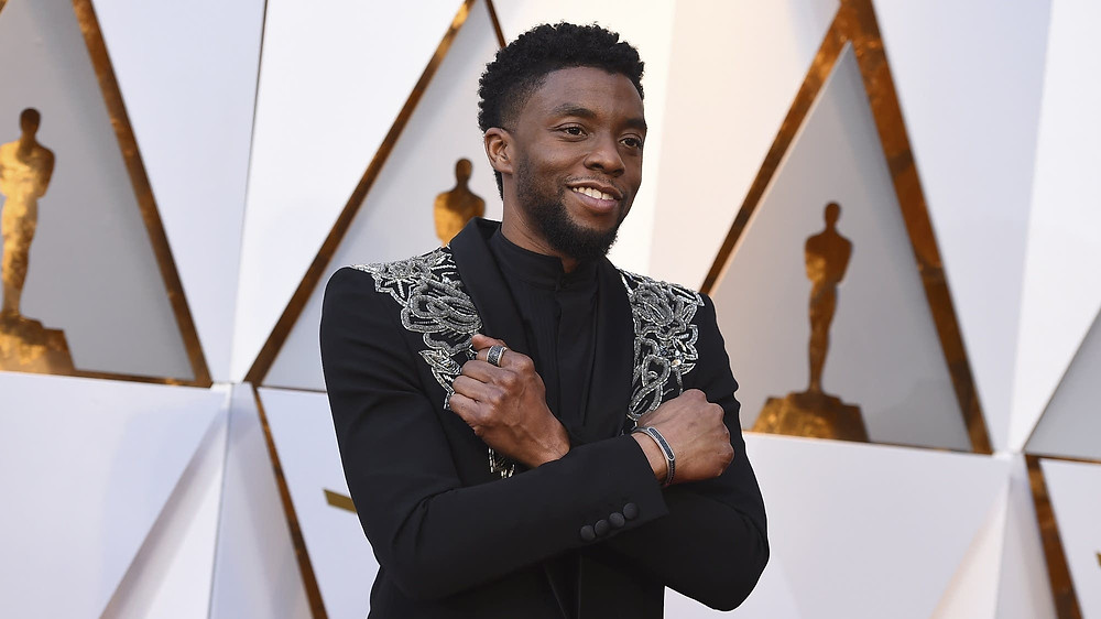 Chadwick Boseman arrives at the Oscars on March 4, 2018