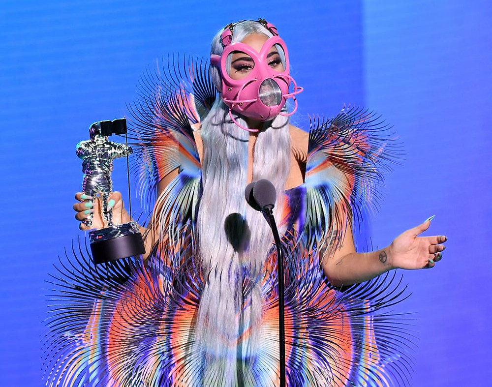 Lady Gaga picks up the award for Best Collaboration. Photograph: Kevin Winter/MTV VMAs 2020/Getty Images for MTV
