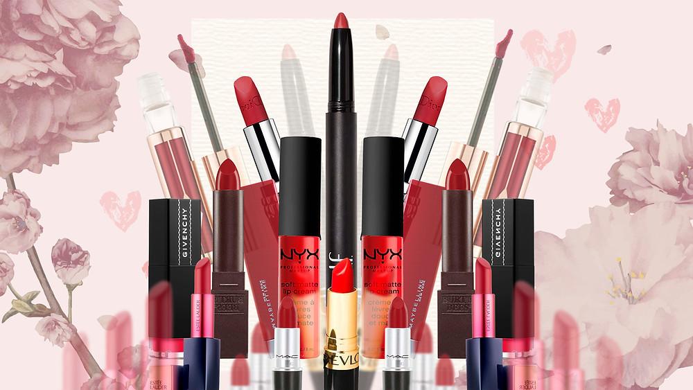Dior, Estēe Lauder, Givenchy, Charlotte Tilbury, MAC, Revlon, Burts Bees, Maybelline, NYX and ELF