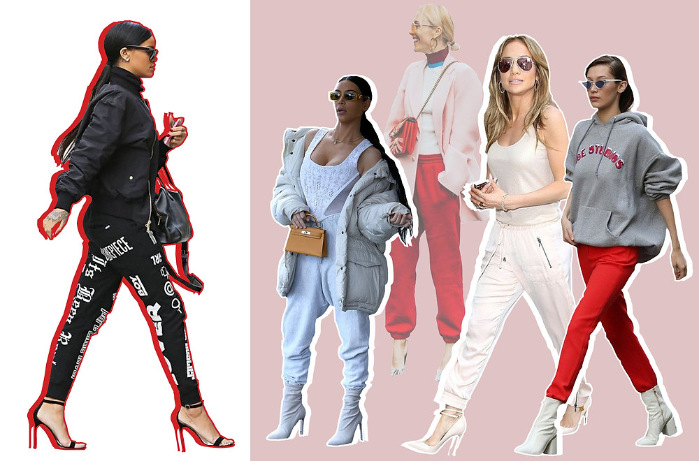 "Rihanna, Kim Kardashian, Jennifer Lopez and Bella Hadid all sporting the ""Joggers and Heels"" trend"