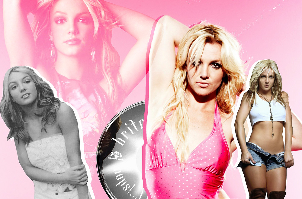 Collage of Britney Spears and the CD for 'Oops!... I Did It Again'