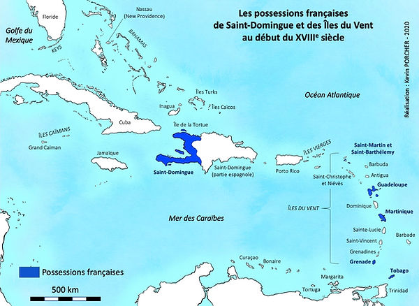carte possession françaises saint domingue et îles du vent