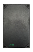 """Closed black rectangular enclosure of Faro Gateway with green """"Unico Power"""" label on one end."""