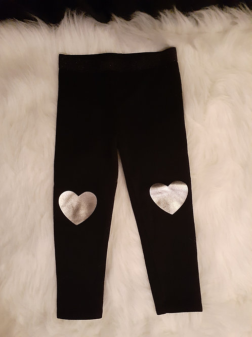 Black Leggings with Silver Hearts