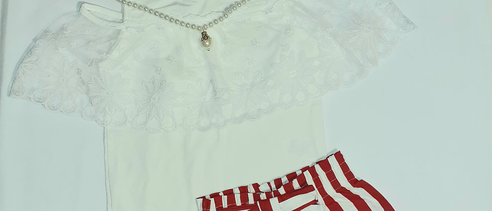 Red and White Set with Lace White Top