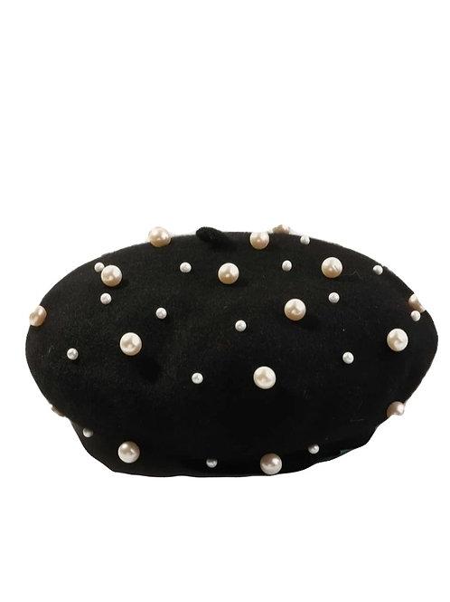 Faux Pearl Decor Beret Hat