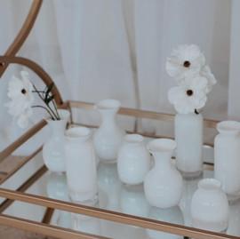 White Glass Bud Vases - $2.50