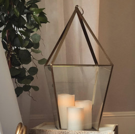 Modern Glass Lantern Large - $14