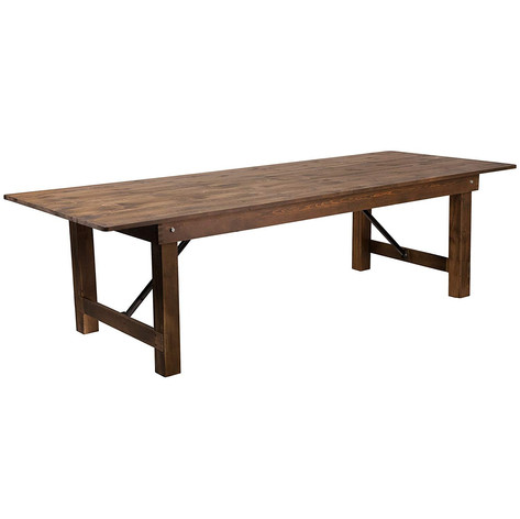 "8'x40"" Fruitwood Farm Table - $65"