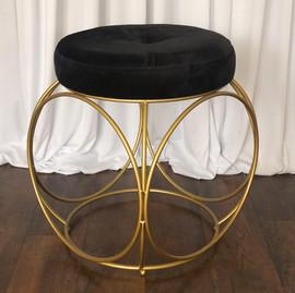 Furniture - Black Velvet Floor Stool