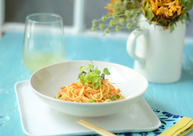 Udon Noodle Salad with Micro Greens on B