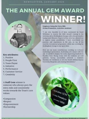 The Annual GEM Award Winner