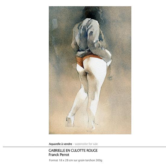 """Aquarelle """"Gabrielle en culotte rouge"""""""