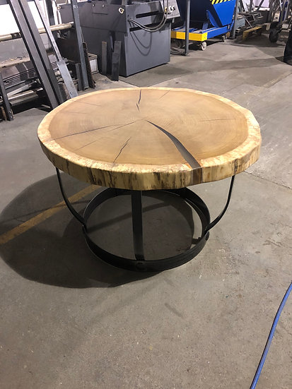 Eichenrund Tisch im Retro Fass Design