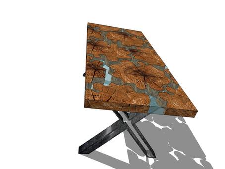Projekt Visualisierung Insel Tischplatte mit Strip-X Gestell