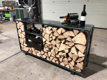 Kaminholz Schrank mit Fächer für Wein oder anderen Dingen.... 1700x350x950mm