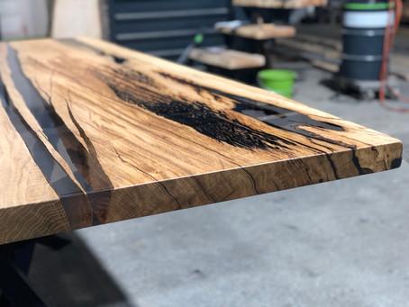 Wildeichen Tischplatte mit Käfernest 🐝😬🤪