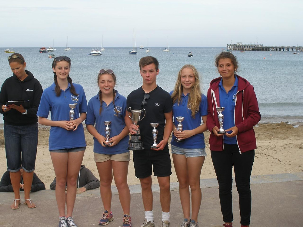 Shanklin Ladies Novice crew Winners with the Swanage Trophy.jpg