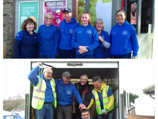 All hands helping at the Rotary Shop