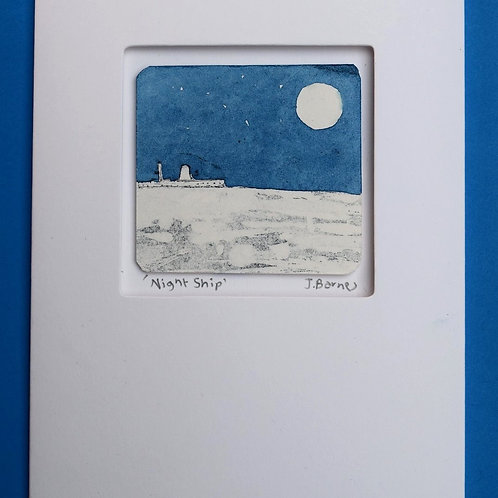 Night Ship - unique etched card