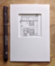 Micro house portrait, Pen & ink, 5x5cm.j