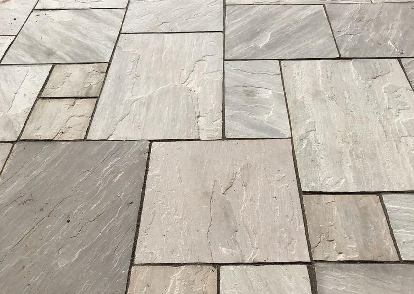 silver grey sandstone patio