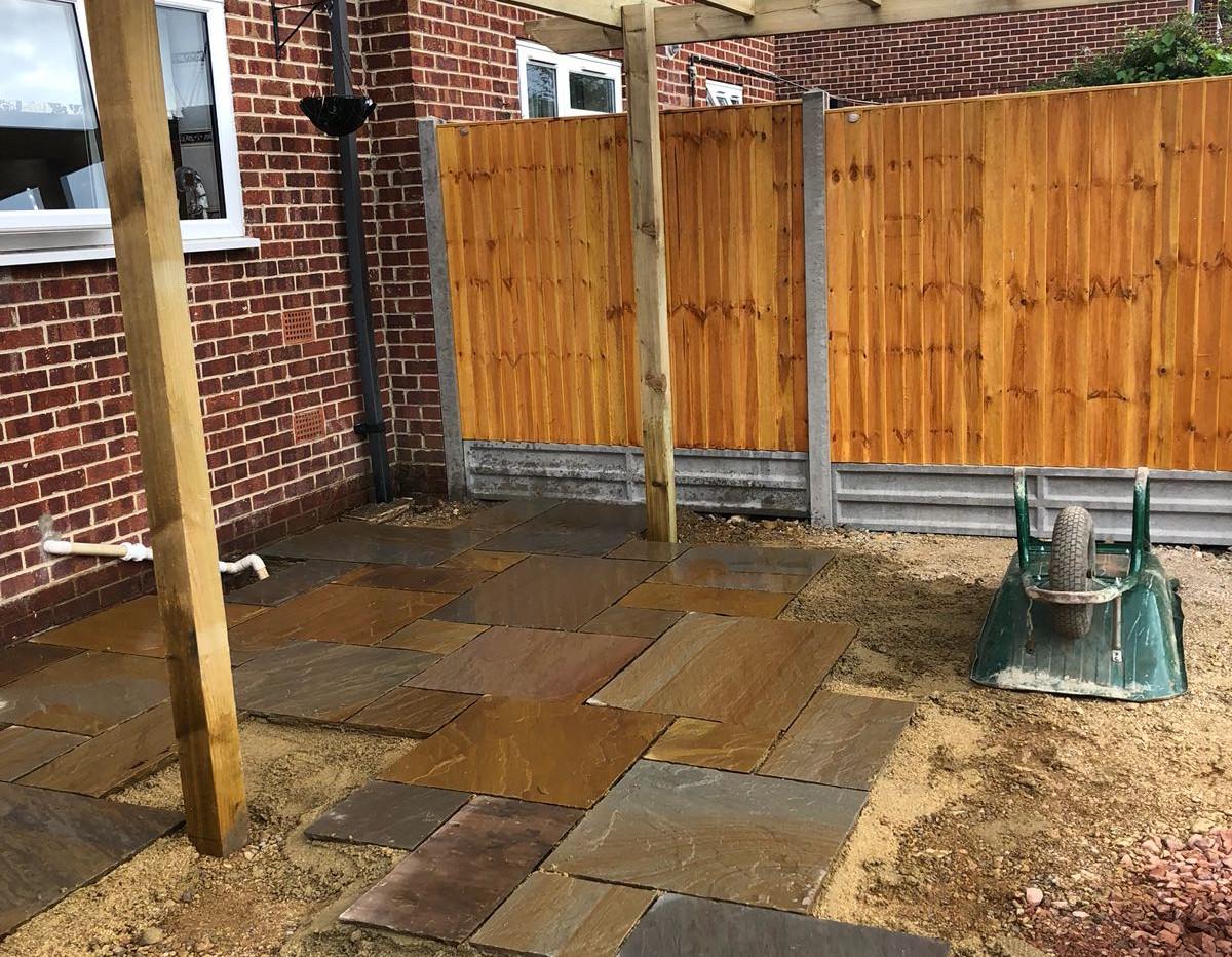 pergola , fencing and patio in progress