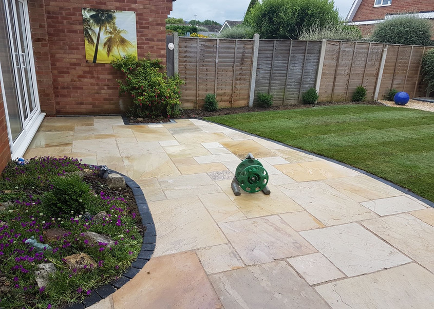 full landscaped garden new patio and lawn