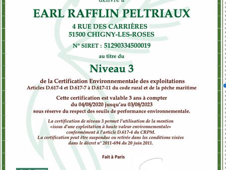 Certification HVE RAFFLIN PELTRIAUX