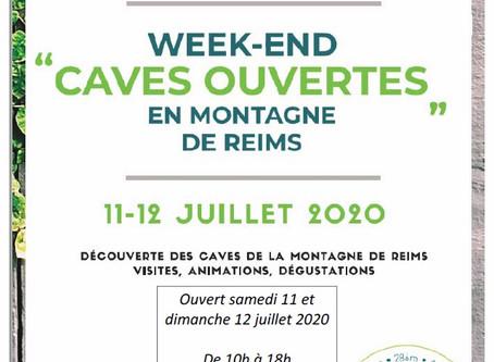 """Opération """" Caves ouvertes de la montagne de Reims """"               11 et 12 Juillet 2020"""